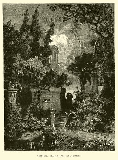 Cemetery, Feast of All Souls, Naples. Illustration for Italy from the Alps to Mount Etna (Chapman and Hall, 1878).