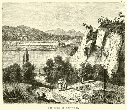 The Lakes of Monticchio. Illustration for Italy from the Alps to Mount Etna (Chapman and Hall, 1878).