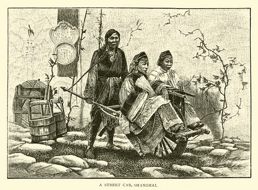 A street cab, Shanghai. Illustration for Around the World with General Grant by John Russell Young (American News Company, 1879).