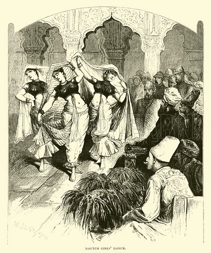 Nautch girls' dance. Illustration for Around the World with General Grant by John Russell Young (American News Company, 1879).