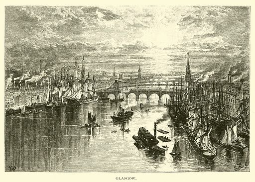 Glasgow. Illustration for Around the World with General Grant by John Russell Young (American News Company, 1879).