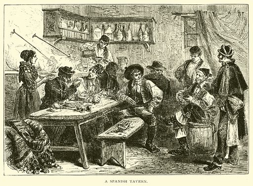 A Spanish tavern. Illustration for Around the World with General Grant by John Russell Young (American News Company, 1879).