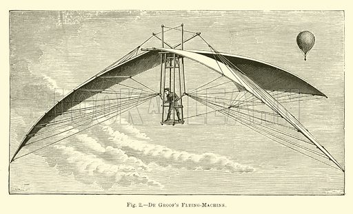 De Groof's Flying-Machine. Illustration for Science for All edited by Robert Brown (Cassell, c 1890).
