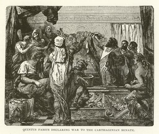 Quintus Fabius declaring war to the Carthaginian Senate. Illustration for Library of Universal History by Moses Coit Tyler (Peale & Hill, c1897).