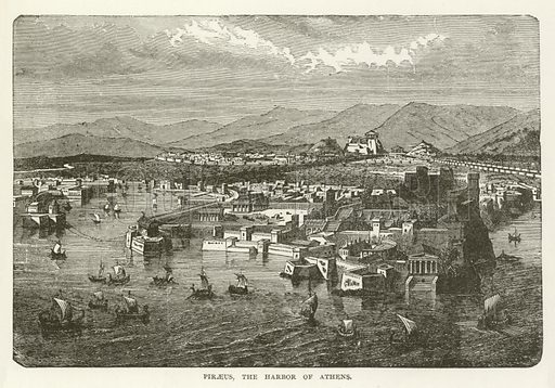 Piraeus, the Harbor of Athens. Illustration for Library of Universal History by Moses Coit Tyler (Peale & Hill, c1897).