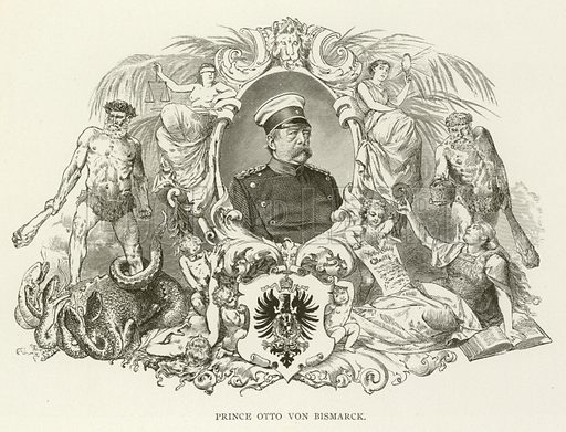 Prince Otto von Bismarck. Illustration for Library of Universal History by Moses Coit Tyler (Peale & Hill, c1897).