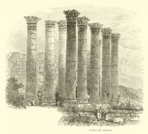 Ruins at Gerasa. Illustration for The Life of Christ by FW Farrar (Cassell, 1891).