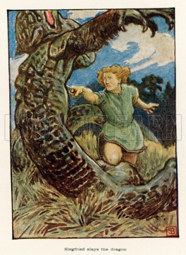 Siegfried slays the dragon. Illustration for The Operas of Wagner by J Cuthbert Hadden (Jack, 1920).