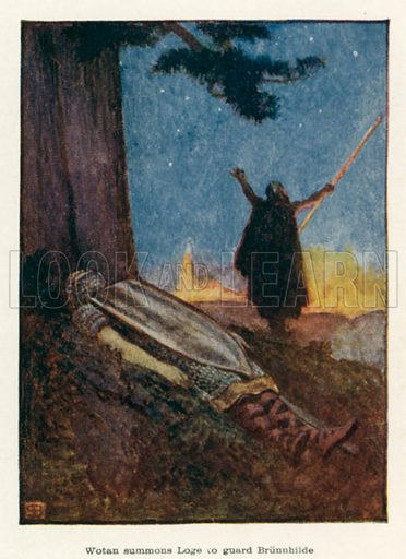 Wotan summons Loge to guard Brunnhilde. Illustration for The Operas of Wagner by J Cuthbert Hadden (Jack, 1920).
