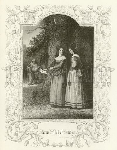 The Merry Wives of Windsor, Act II scene i. Illustration for The Complete Works of Shakespeare (London Printing and Publishing, c 1880).