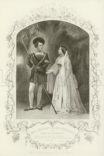 Mr L Murray and Mrs Stirling as Orlando and Rosalind, As You Like It, Act V, scene iv. From a daguerreotype by Paine of Islington. Illustration for The Complete Works of Shakespeare (London Printing and Publishing, c 1880).