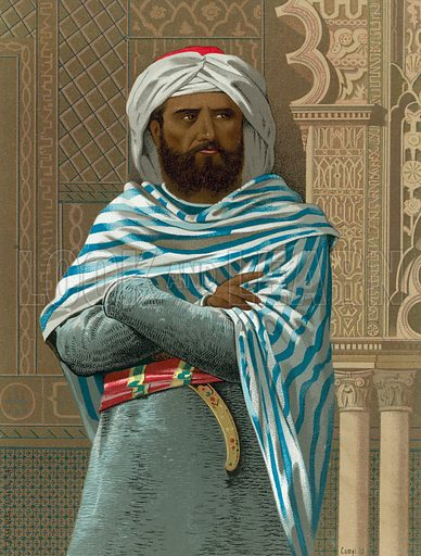Abd al-Rahman I.  Illustration for Hombres Y Mujeres Celebres by D Juan Landa (D J Seix, 1877).  Chromolithograph of finest quality.
