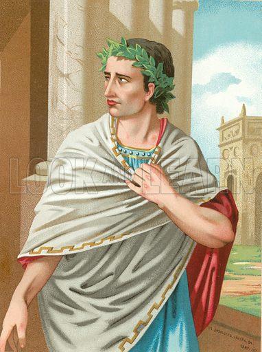 Julius Caesar.  Illustration for Hombres Y Mujeres Celebres by D Juan Landa (D J Seix, 1877).  Chromolithograph of finest quality.