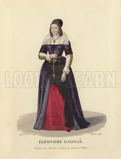 Leonora Dori Galigai (1571–1617), favourite of Marie de' Medici, wife of King Henry IV of France. Executed for withcraft. Illustration for Costumes des Femmes Francaises du XII to XVIII siecle (Charles Tallandier, 1900). Printed by Charles Wittmann; hand-coloured by Nervet. Reprint of 1837 edition.