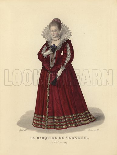 Catherine Henriette de Balzac d'Entragues, Marquise de Verneuil (1579–1633), mistress of King Henry IV of France. Illustration for Costumes des Femmes Francaises du XII to XVIII siecle (Charles Tallandier, 1900). Printed by Charles Wittmann; hand-coloured by Nervet. Reprint of 1837 edition.