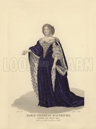Maria Theresa of Austria (1638-1683), first wife of King Louis XIV of France. Illustration for Costumes des Femmes Francaises du XII to XVIII siecle (Charles Tallandier, 1900).  Printed by Charles Wittmann; hand-coloured by Nervet.  Reprint of 1837 edition.
