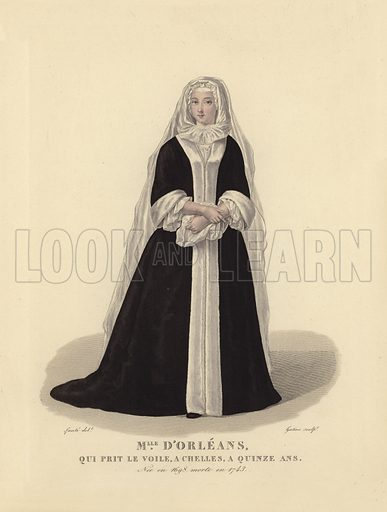 Louise Adelaide of Orleans (1698–1743), French princess who took the veil at the age of 15 and went on to become Abbess of Chelles. Illustration for Costumes des Femmes Francaises du XII to XVIII siecle (Charles Tallandier, 1900). Printed by Charles Wittmann; hand-coloured by Nervet. Reprint of 1837 edition.