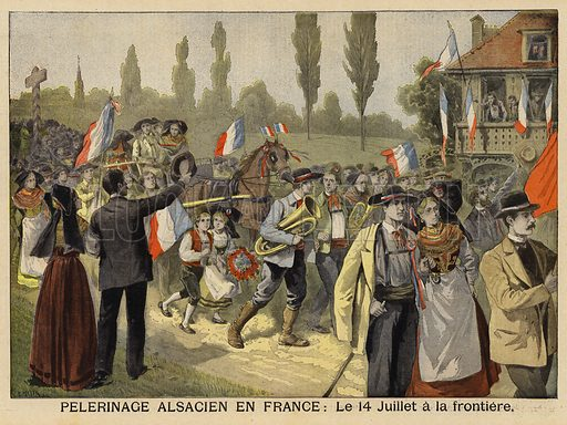 Pilgrimage of Alsatians to France, 14 July 1897. Crossing the border to celebrate Bastille Day. Alsace and Lorraine became German territory after France's defeat in the Franco-Prussian War of 1870–1871. Illustration for Le Petit Journal, 1 August 1897.
