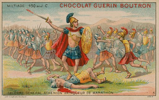 Miltiades (c550-489 BC), Athenian general and victor of the Battle of Marathon, 490 BC. Chocolat Guerin Boutron educational card.