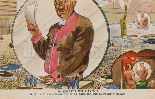 Giant television screen in a public square. Educational card, from a series on predictions for the future.
