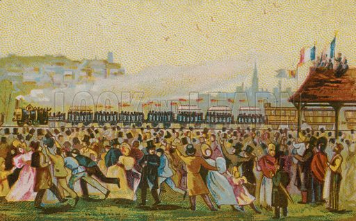 Opening of the first French railway, 1832. Chocolat Louvier educational card.