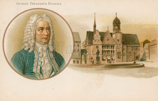 George Frideric Handel (1685-1759), German-born British composer. Educational card, from a series on famous composers.