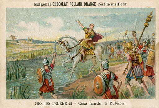 Julius Caesar crossing the Rubicon, 49 BC Educational card.