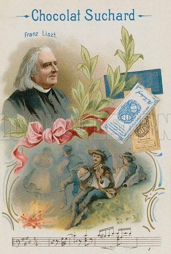 Franz Liszt (1811–1886), Austrian composer and musician. Chocolat Suchard educational card.