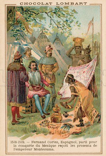 Hernan Cortes, Spanish conquistador, receiving gifts from the Aztec Emperor Montezuma, Mexico, 1518-1519. Educational card.