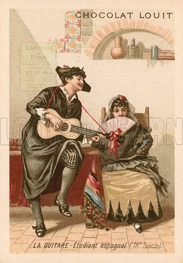 The guitar: Spanish student (18th Century). Chocolat Louit educational card, from a series on musical instruments.