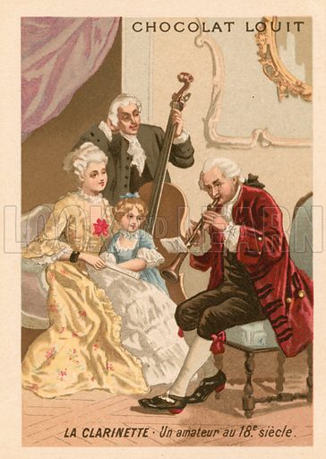 The clarinet: an amateur in the 18th Century. Chocolat Louit educational card, from a series on musical instruments.