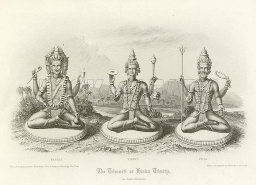 The Trimurti or Hindu Trinity. The Gods Brahma, Vishnu and Shiva. Illustration for The Faiths of the World by James Gardner (Fullarton, c 1880).