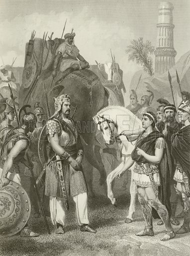 Surrender of Porus to the Emperor Alexander, 326 BC Illustration for History of the World by Evert A Duyckinck (Johnson, Wilson, c 1870.).