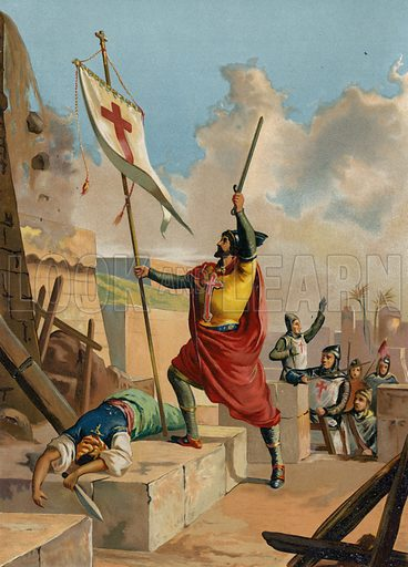 Godfrey of Bouillon, Frankish knight and crusader, 11th Century. Illustration for Historia Universal by Cesar Cantu (J Seix, 1885).