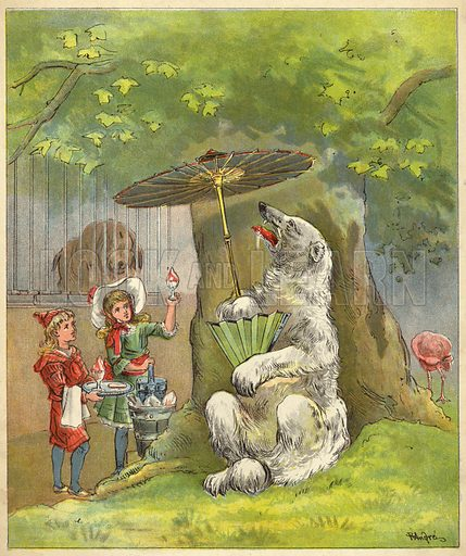 Polar bear being fed ice cream sundae by children. Illustration for Dream of the Zoo (Perry & Co, c 1880).