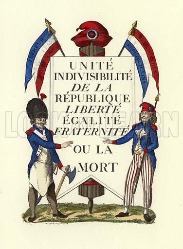 Facsimile of a Republican placard, French Revolution. Illustration for La Revolution 1789–1882 by Charles D'Hericault (D Dumoulin, 1883).