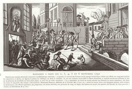September Massacres, Paris, French Revolution, 1792. Illustration for La Revolution 1789–1882 by Charles D'Hericault (D Dumoulin, 1883).