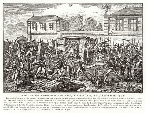 Massacre of the prisoners of Orleans, Versailles, French Revolution, 9 September 1792. Part of the September Massacres, an outbreak of mob violence in Paris. Illustration for La Revolution 1789-1882 by Charles D'Hericault (D Dumoulin, 1883).