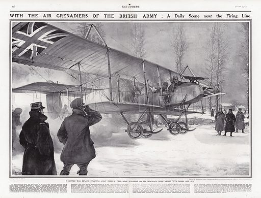 British biplane taking off from an airfield near Hollebeke, Belgium, World War I. From The Sphere, 30 January 1915.