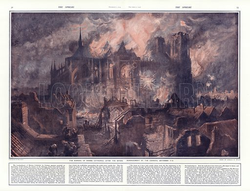 The burning of Reims Cathedral after the severe bombardment by the Germans, 17-24 September 1914. From The Sphere, 7 December 1914.