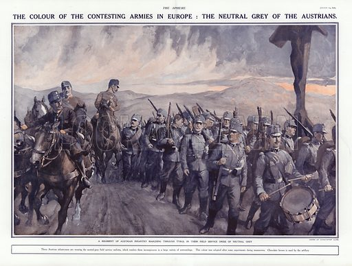 Austrian soldiers marching through the Tyrol, World War I, 1914. From The Sphere, 29 August 1914.