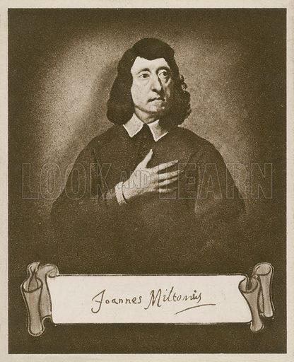 John Milton, from the original at the National Portrait Gallery, painting by P Van der Plaas. One of the Celebrities and their Autographs series of cigarette cards issued by Nicolas Sarony & Co, c 1930.