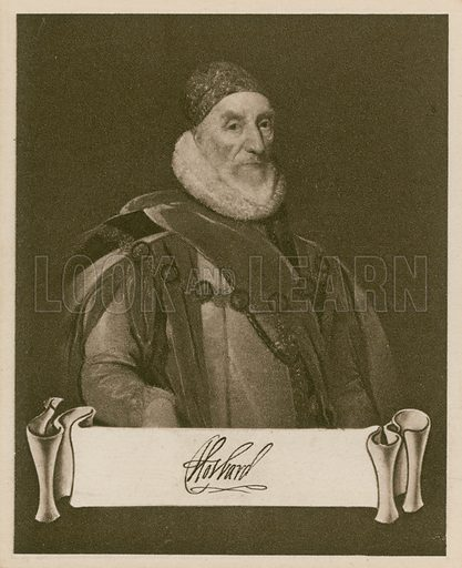 Lord Howard of Effingham, Earl of Nottingham, from the original at the National Portrait Gallery, painting by P van Somer. One of the Celebrities and their Autographs series of cigarette cards issued by Nicolas Sarony & Co, c 1930.