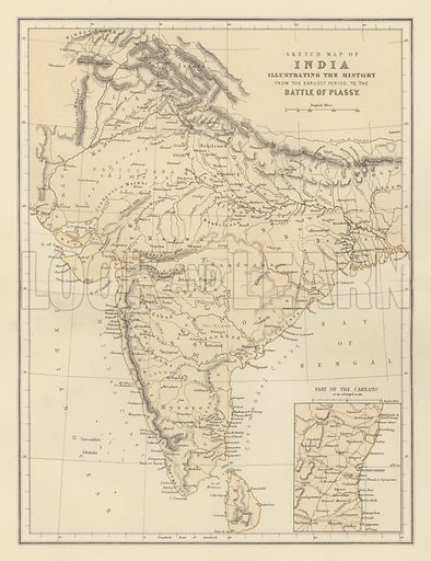 Sketch Map of India Illustrating the History from the Earliest Period to the Battle of Plassy. Illustration for The Popular History of England by Charles Macfarlane and Thomas Archer (Blackie, 1886).