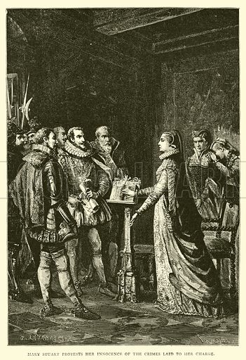Mary Stuart protests her innocence of the crimes laid to her charge. Illustration for The People's History of Great Britain (Liverpool Courier, 1895).