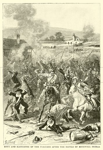 Rout and slaughter of the Puritans after the Battle of Bothwell Bridge. Illustration for The People's History of Great Britain (Liverpool Courier, 1895).