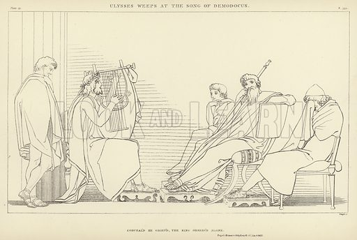 Ulysses weeps at the Song of Demodocus. Illustration for Flaxman's Classical Outlines by John C L Sparkes (Seeley, 1885).