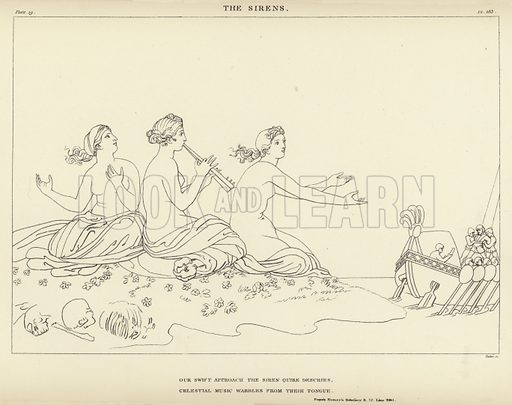 The Sirens. Illustration for Flaxman's Classical Outlines by John C L Sparkes (Seeley, 1885).