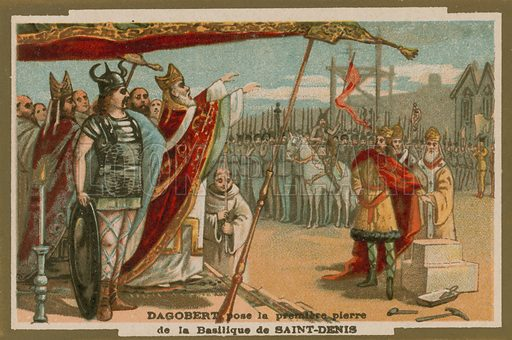 Dagobert I laying the first stone of the Basilica of St Denis, France, 7th Century. Educational card, late 19th or early 20th century.