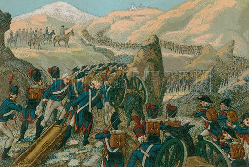 Napoleon's army crossing the Great St Bernard Pass into Italy, May 1800. Educational card, late 19th or early 20th century.